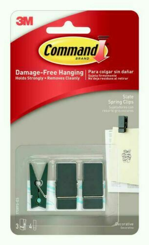 3 x Command Small Spring Clip Slate Damage-Free Hanging Decorate Indoor 4 Strips