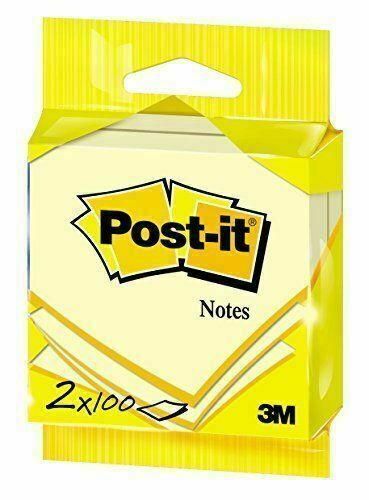 3M Post It Notes Self Adhesive 76 x 76mm 100 Sheets Pack of 2 - New Sealed Pack