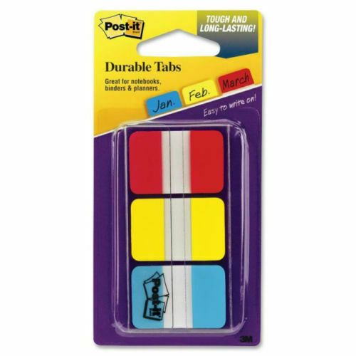 3M POST-IT STRONG 3 COLOUR (RED YELLOW & BLUE) PACK INDEX DIVIDER TABS / 686-RYB