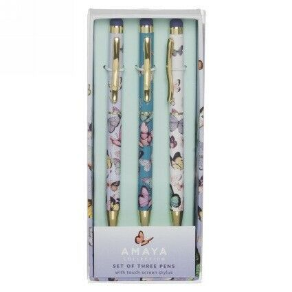 Amaya Butterflies 3 Pen Set with Gold Trim, Black Ink