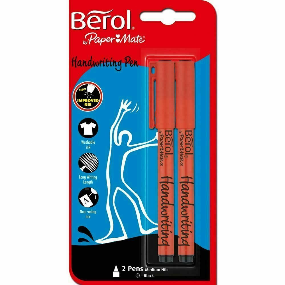 Berol Handwriting School Pens Clip Cap - Medium nib 0.6 - Blue Ink, 2 Pack
