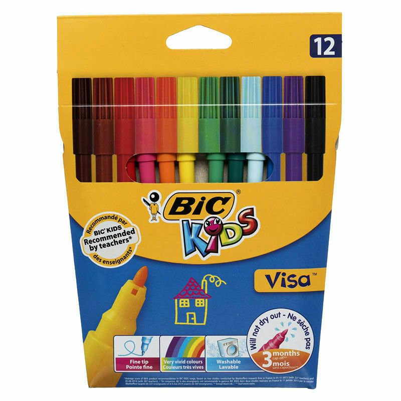 BiC Kids Felt Tip Pens With Medium Nib Assorted Colours Washable Ink Pack Of 12