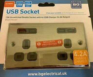 British General 13A Unswitched Double Socket 4x USB Charger (4.2A Output) - BN