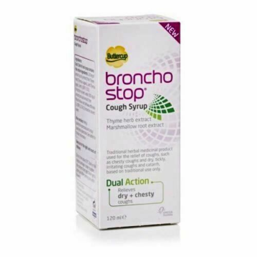 Bronchostop Buttercup Cough Syrup -120 ml relieves dry and chesty coughs