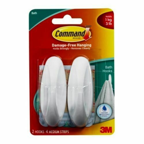 Command Designer Hooks With Water Resistant Strips 2 Hooks,4 Medium Strips Be th