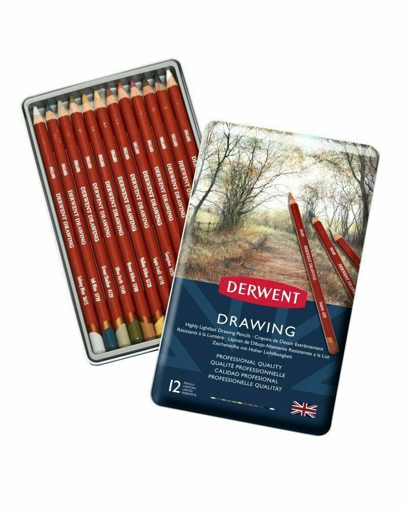 Derwent Drawing 12 Tin Set of Assorted Professional Colour Pencils
