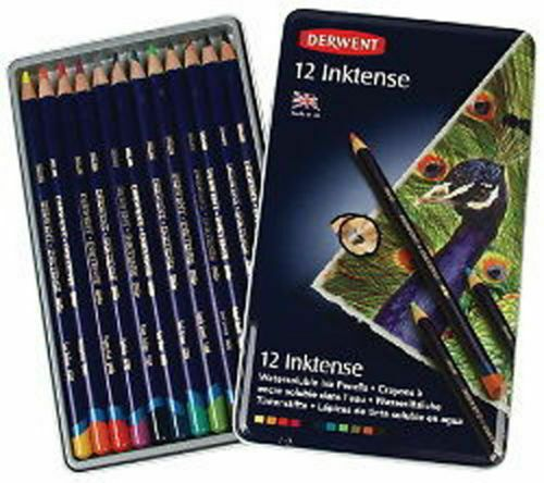 Derwent Inktense 12 Tin Set Professional Quality Permanent Watercolour Pencils