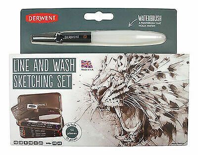 Derwent Line and Wash Sketching Set including Waterbrush