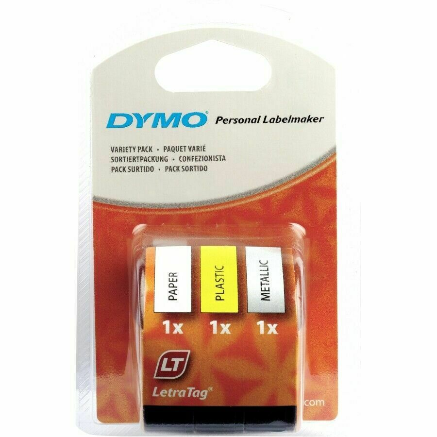 Dymo (12mm) LetraTag Tape (Assorted Colours) - 1 x Pack of 3 Tapes