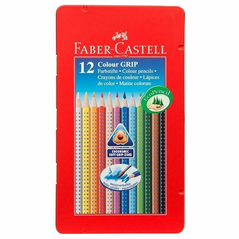 Faber-Castell Colour Grip Triangular Assorted Colouring Pencils Pack Of 12