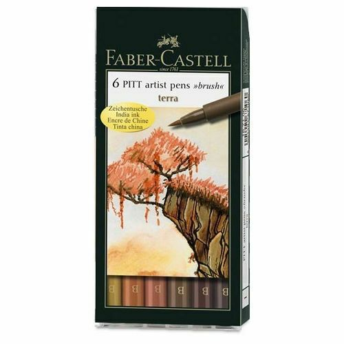 Faber Castell Pitt Artist 6 Brush Pen Wallet Set Terra. Artists Colour Pens.