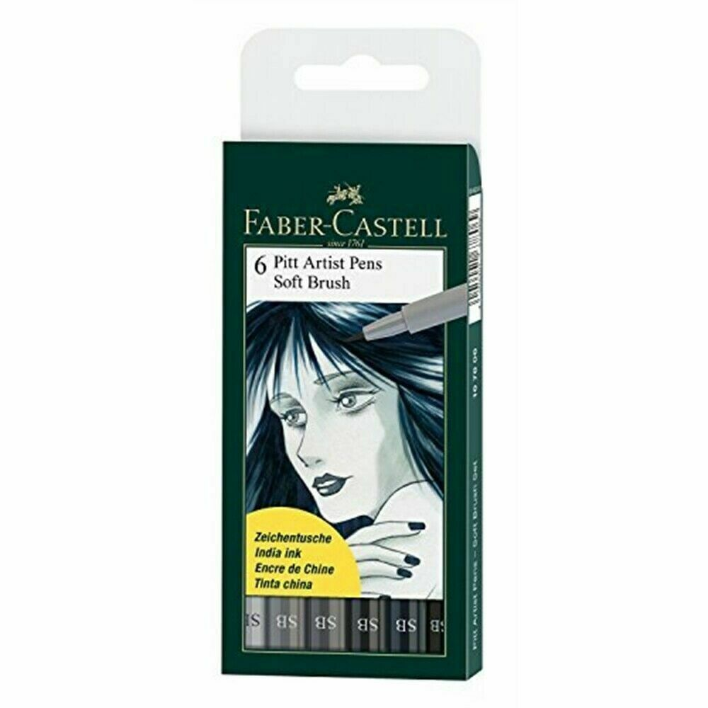 Faber-castell Pitt Artist Soft Brush Pens, Set Of 6, Shades Of Grey (fc167806)