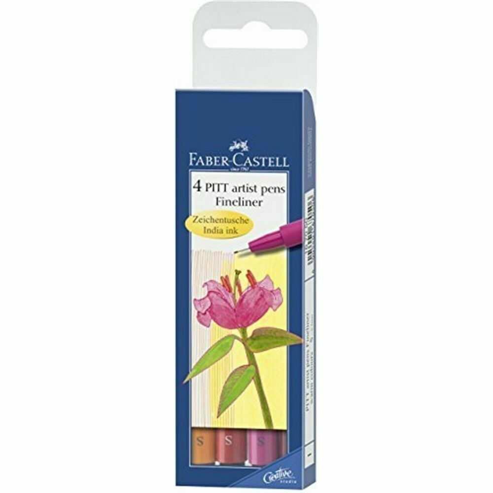 Faber-castell Pitt Artist Warm Colours Pen Fineliner (pack Of 4) - 4 Pens Faber