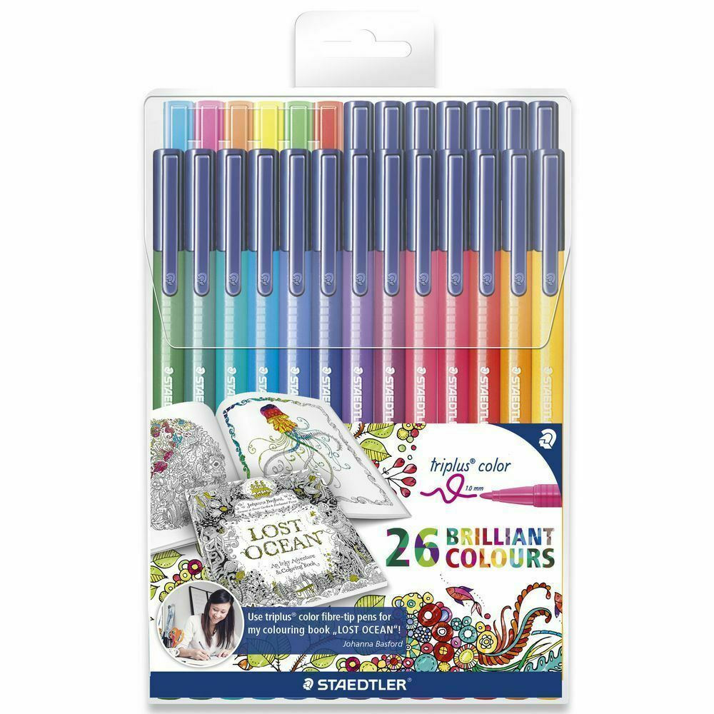 Genuine Staedtler Triplus1.0 mm Fibre Tip Pens 26 Brilliant Colours