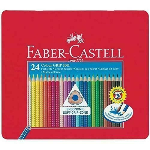 High Quality Faber Castell Metal Tin 24 Colour ergonomic Grip pencils Artist