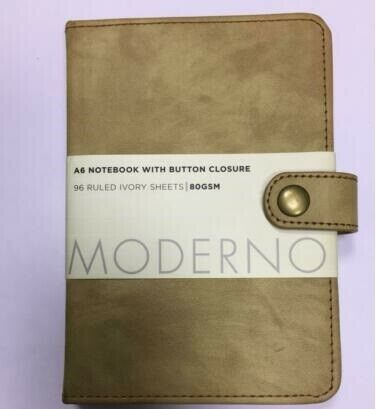 Moderno A6 Notebook Button Closure 96 Ruled ivory Sheets 80gsm Tan Leather Book
