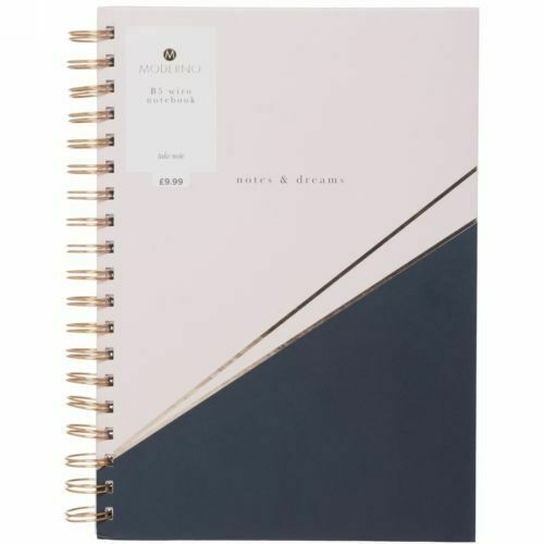 Moderno Woman Navy & Pink B5 Notebook Journal Wiro Bound