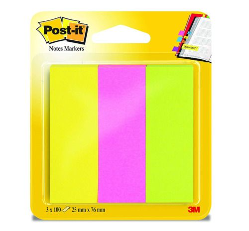 Post-it Paper Page Marker, 25 x 76 mm, 3 Neon Colours, Yellow/Pink/Green,