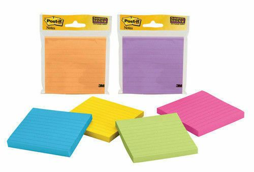 Post-It Super Sticky Lined Ultra Colour Pads Various Colours